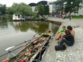 Shoppen mit dem Boot in Ilawa Polen 2017